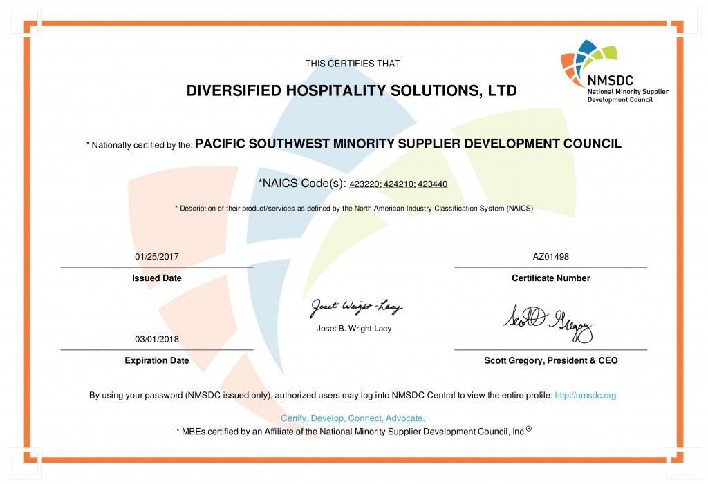 PSWMSDC Certificate 2017 - DIVERSIFIED HOSPITALITY SOLUTIONS, LTD