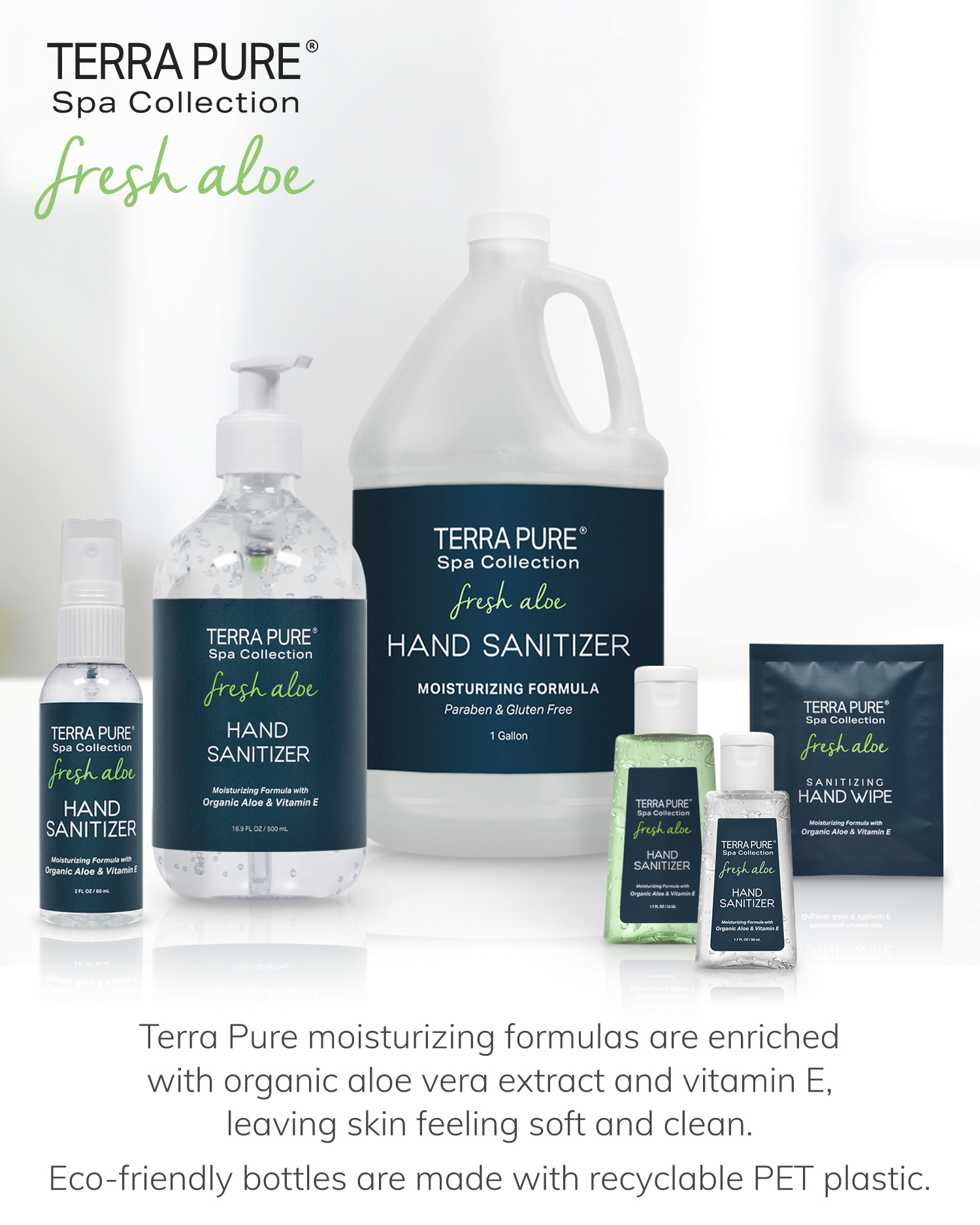 Terra Pure Spa Collection Fresh Aloe Hand Sanitizers Collection
