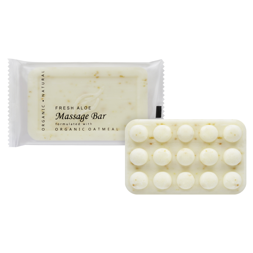 Oatmeal Massage Bar - 50g Sachet (Front and contents)
